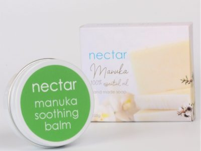 manuka soothing balm in tin and soap in box on white