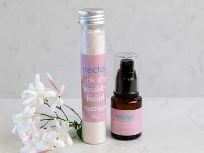 pink-clay-facial-scrub-and serum with jasmine