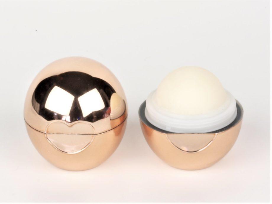 rose gold organic lip balm ball open