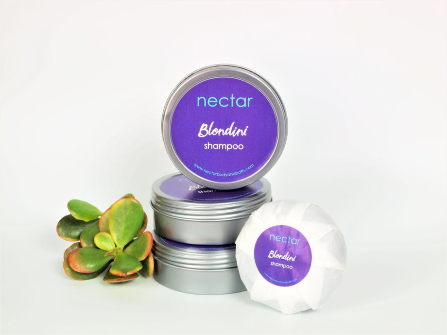 blondini purple shampoo bar in stack of tins and refill bar with succulent
