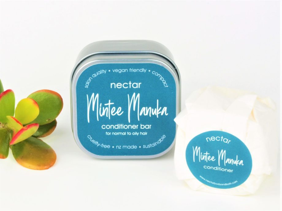 mintee manuka conditioner and tin and plant